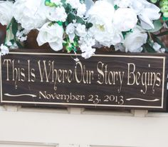 Wedding sign idea: This is Where Our Story Begins with wedding date.