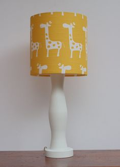 Small Giraffe Drum Lamp Shade - Yellow with White Giraffes Design - Nursery or Baby Lamp Shade on Etsy, $30.00