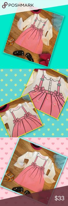 I Want To Be A Cartoon Dress your little girl like a cartoon princess. Darling spongy material of polyester, cotton, and wool. Designed print like a cartoon. Large pearl beads on the front. Long sleeves with flares at the bottom. Parties, school, fun, and perfect for a photo! Adorbs Dresses