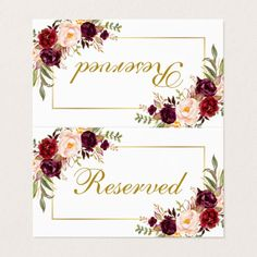 Shop Watercolor Floral Burgundy Gold Wedding Reserved Place Card created by PearlBay. Marsala And Gold Wedding, Burgundy And Blush Wedding, Burgundy And Gold, Wedding Gold, Wedding Place Cards, Wedding Gifts, Card Wedding, Event Planning Tips, Wedding Planning