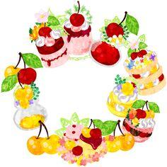 フリーイラスト素材さくらんぼスイーツで作られたリース  Free Illustration The frame that is made with cherry sweets