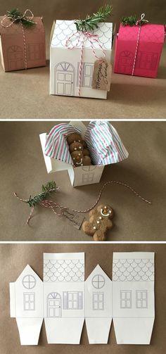 exemple de patron boite en carton en forme de maisonnette, une boite à biscuits, idée cadeau de Noel à fabriquer soi meme