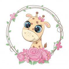 Girafa bebê verão bonito com coroa de fl... | Premium Vector #Freepik #vector #flor #carater #animal #grinalda