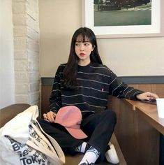 MICHYEORA - Long -Sleeved Striped T-shirt   #beauty #fashion #koreanfashion #style