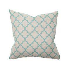 Tile Print Turquoise Pillow