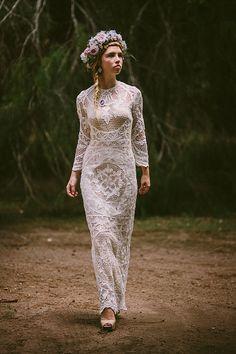Cotone Vintage abito da sposa pizzi antichi veneziani SML XL