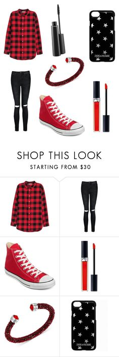 """Untitled #77"" by dydydyav ❤ liked on Polyvore featuring H&M, Boohoo, Converse, Christian Dior, Swarovski, Zadig & Voltaire and MAC Cosmetics"