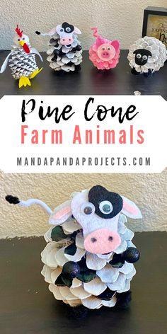 Farm Animal Crafts, Pig Crafts, Diy Crafts To Do, Animal Crafts For Kids, Cute Crafts, Farm Animals, Pinecone Crafts Kids, Fall Crafts, Pine Cone Crafts For Kids