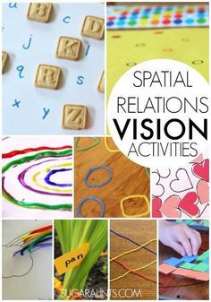 Visual Spatial Relations activities for kids. What is Visual Spatial Relations and why do kids need to develop this area for use in handwriting, scissor use, and functional tasks? So many ideas here.