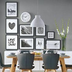 Best Grey Kitchen Walls Ideas On Light Gray Honey Maple Dark-gray dining room decorating ideas grey - Dining Room Decor Grey Kitchen Walls, Dining Room Walls, Dining Room Design, Dining Area, Gray Walls, Kitchen White, Room Chairs, Dining Chairs, Kitchen Small