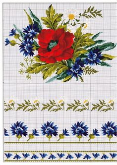 Flower Counted Cross Stitch Pattern Rose by Pierre by SimpleSmart Cross Stitch Borders, Cross Stitch Flowers, Cross Stitch Charts, Cross Stitch Designs, Cross Stitching, Cross Stitch Patterns, Diy Embroidery, Cross Stitch Embroidery, Embroidery Patterns