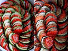 summer vegetable tian - gorgeously presented zucchini, potatoes, and tomatoes >> Make sure to click on the photo to go to the recipe.