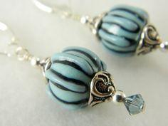 Handmade blue striped earrings, sterling silver leverbacks   Lundela - Jewelry on ArtFire