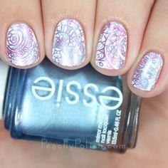 Pink & Blue Metallic Double Stamping   Peachy Polish