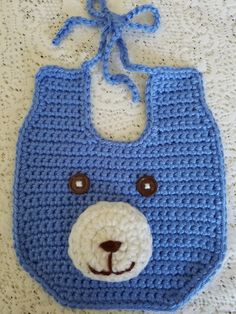 Crochet Baby Bibs, Crochet For Boys, Hand Crochet, Baby Boy Bibs, Carters Baby Girl, Baby Toys, Baby Shower Gifts, Baby Gifts, Blue Teddy Bear