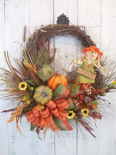 Fall wreaths, Scarecrow, Wreaths for Fall, Pumpkins, Autumn decor, Harvest, Door decor, Fall wreath, Sunflowers, Fall door wreaths by ChickadeeLore on Etsy https://www.etsy.com/listing/243559645/fall-wreaths-scarecrow-wreaths-for-fall