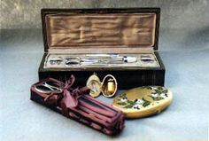 Enameled and Silver Tools, Shaker Leather and Ribbon Needlework Piece