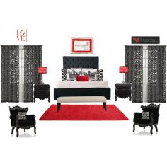 This would be my perfect bedroom !!! Black / Red / White = Sexy