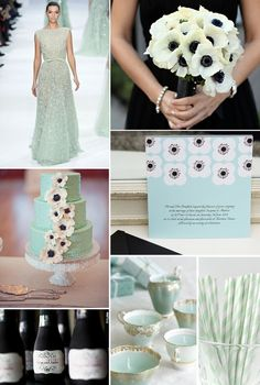 mint, black, and gold wedding inspiration… this is my favorite color palette right now and i always love anemones