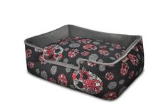 Skull and Roses Dog Lounge Bed. Machine washable and dryer friendly! Easy, comfortable, beautiful and eco-friendly! Available in four sizes.