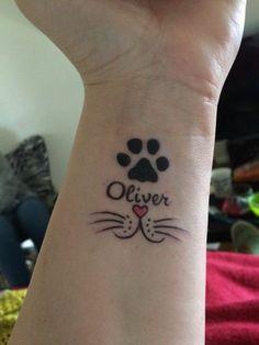 tatouage chat, tatouages en honneur de ses animaux domestiques
