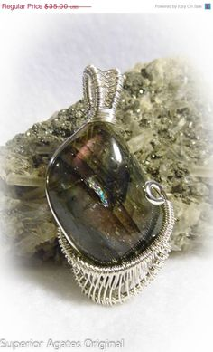 On Sale Labradorite Spectrolite Wire Wrapped by superioragates, $31.50