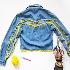 This denim shirt was languishing in a drawer, too tight across the arms and shoulders to wear comfortably. With a pair of scissors, a simple snip, a few holes and a crochet hook and it can become transformed :) And the best thing is ANYONE can do it. Crochet Stitches, Knit Crochet, Crochet Patterns, Double Crochet, Single Crochet, Crochet Books, Denim Shirt, How To Make, How To Wear