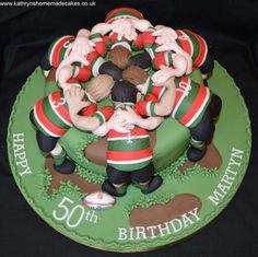 Rugby scrum 50th birthday cake