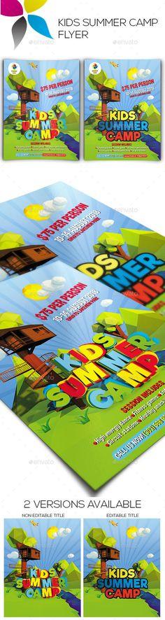 Kids Summer Camp Flyer  Flyer Printing Print Templates And Font Logo
