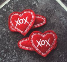 Felt Snap Hair Clip Barrette Valentine Hearts by PJSEMBROIDERY, $5.00