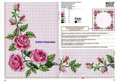 Cross-stitch Pink Roses Tablecloth, part Gallery. Cross Stitch Love, Cross Stitch Borders, Cross Stitch Flowers, Cross Stitch Charts, Cross Stitch Designs, Cross Stitching, Cross Stitch Embroidery, Embroidery Patterns, Cross Stitch Patterns