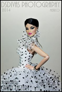 FR 'Breathless' Veronique models a white organza gown with black polka dots
