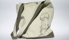 white and grey hand embroidered tote bag
