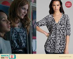 Abby's grey snake print blouse on Scandal. Outfit Details: http://wornontv.net/22176 #Scandal