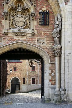Bruges, Belgium - entrance to the courtyard of the Gruuthuuse Museum