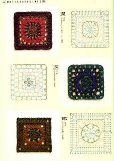Patron Granny squares, cuadrados a crochet