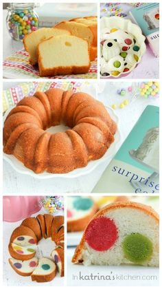 Surprise-Inside Dotty Cake YIELD: 1 Bundt cake PREP TIME: 30 minutes COOK TIME: 30 minutes TOTAL TIME: 1 hour This Surprise-Inside Dotty Cake is SO easy and really will bring a smile to everyone's face when you slice it open. Try making a surprise-inside cake today! **INGREDIENTS** 1 loaf mini pound cake food coloring 6 Tablespoons white frosting 1 white cake mix **DIRECTIONS** Cut pound cake into 6 even slices Place a slice of pound cake, 1 drop of food coloring, and 1 Tablespoon of…
