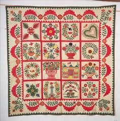 "Pieced and Appliqued Cotton Baltimore Album Quilt signed and dated ""Sarah Shafer, Baltimore, 1850"" from Skinnerinc sold for $27,000! I LOVE, LOVE, LOVE Baltimore Album Quits"