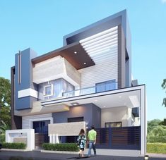 Modern home design 3 Storey House Design, House Front Design, Modern House Design, Morden House, Indian House Plans, Bungalow Exterior, Archi Design, Home Building Design, Modern Mansion