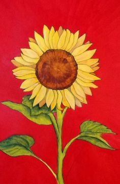 "Sunflower art - ""Tournesol"" - Acrylic painting by Lorraine Skala - prints and notecards available at lorriskala@aol.com"