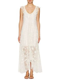Embroidered Lace Flutter Maxi Slip Dress by Free People at Gilt