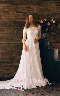 Romantic Style 3/4 Sleeve Long Chiffon Dress With Lace Bodice