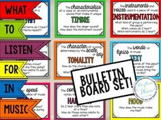 What to listen for in music bulletin board set! 15 term posters with definitions and over 100 vocabulary cards printable in color and black & white. Music Anchor Charts, Music Word Walls, Music Bulletin Boards, Music Lessons For Kids, Music Classroom, Music Teachers, Music Worksheets, How To Start Conversations, Vocabulary Cards
