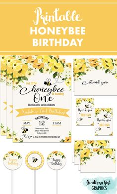 Bumble Bee Birthday, 1st Birthday Party For Girls, Happy Birthday Signs, First Birthday Themes, First Birthdays, Baby Birthday, Birthday Ideas, Bee Party, Birthday Party Invitations