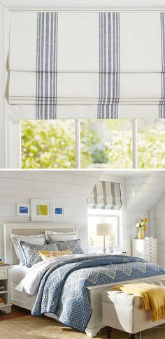 Patterned after the awnings that shade French sidewalk cafés, our Riviera Stripe shade is breezy and casual. #ad #homedecor #romanshades #curtain