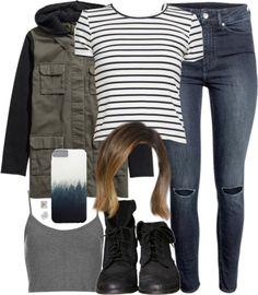 Striped top / Topshop crop tank top / Hooded jacket / H&M skinny jeans, $35 / Zara black boots / T Tahari stud earrings / Tech accessory