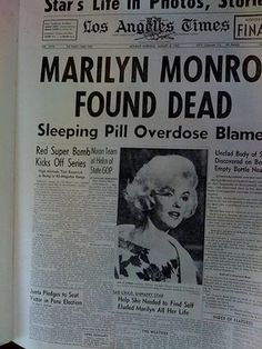 sex symbol marilyn monroe found dead in her bedroom 1962 at 36 years of age