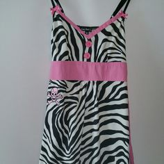 Paper Doll Productions rare zebra/pink dress sz md Very rare htf paper doll productions zebra print dress with pink trim and ruffled bottom, spaghetti straps adjustable, awesome embroidered pink skull on side of dress *see photo.  Just an absolutely unique dress. Worn once for a photoshoot, looks brand new. paper doll productions Dresses