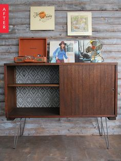 storage unit with mid century modern inspired hairpin legs