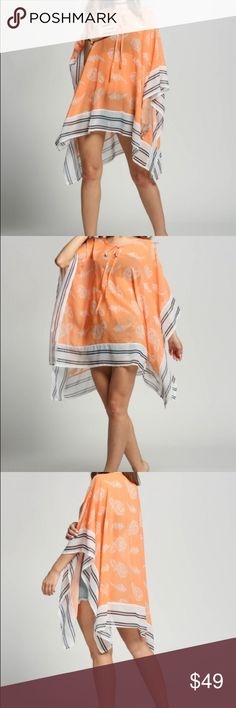 Orange paisley poncho tunic Orange paisley poncho tunic. Sheer will need a camisole underneath. 100% polyester. New without tags retail. Never worn. No flaws. Ships within one week. ShopNicety Tops Tunics